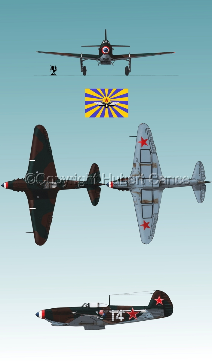 """Yakovlev Yak-9D"" 4-Views (Flag  #6.3) (large view)"