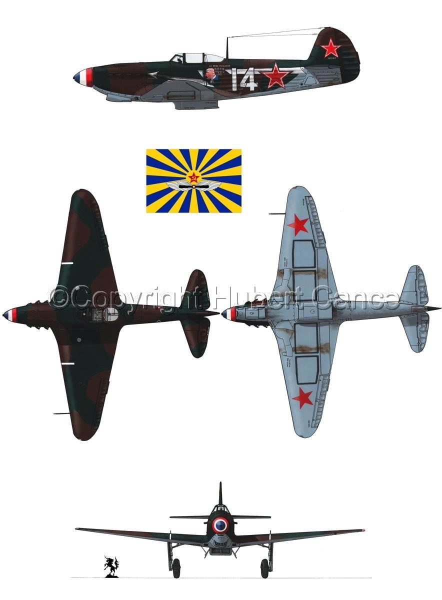 """Yakovlev Yak-9D"" 4-Views (Flag  #7.1) (large view)"