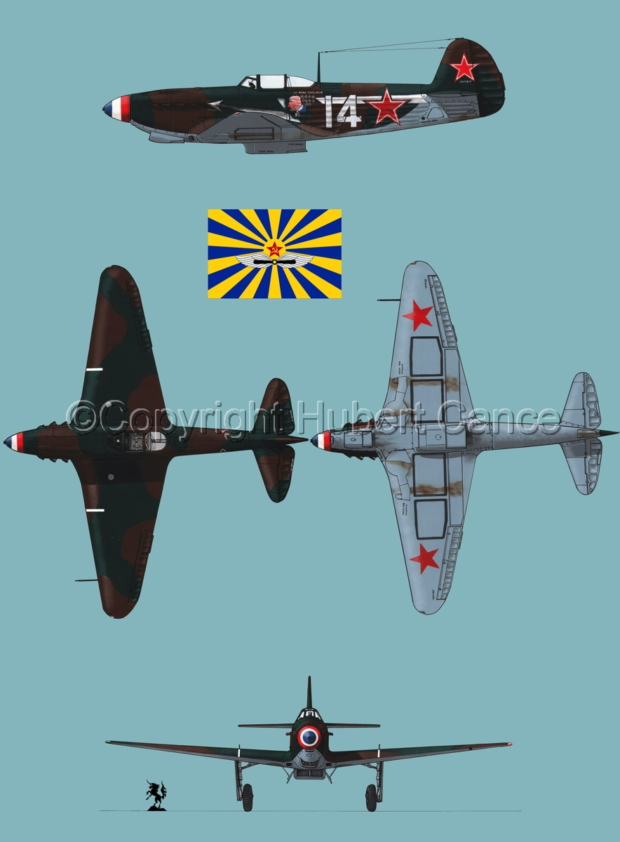 """Yakovlev Yak-9D"" 4-Views (Flag  #7.2) (large view)"