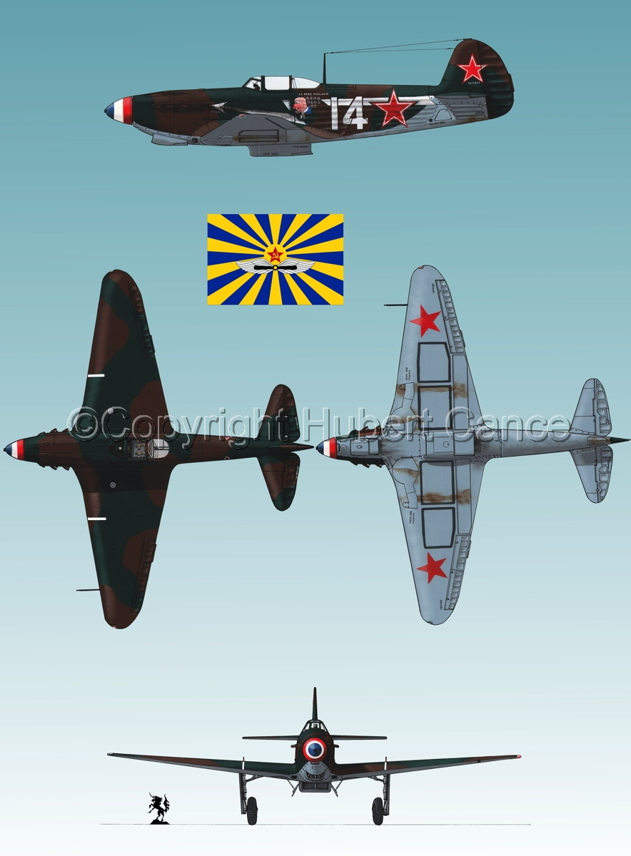 """Yakovlev Yak-9D"" 4-Views (Flag  #7.3) (large view)"