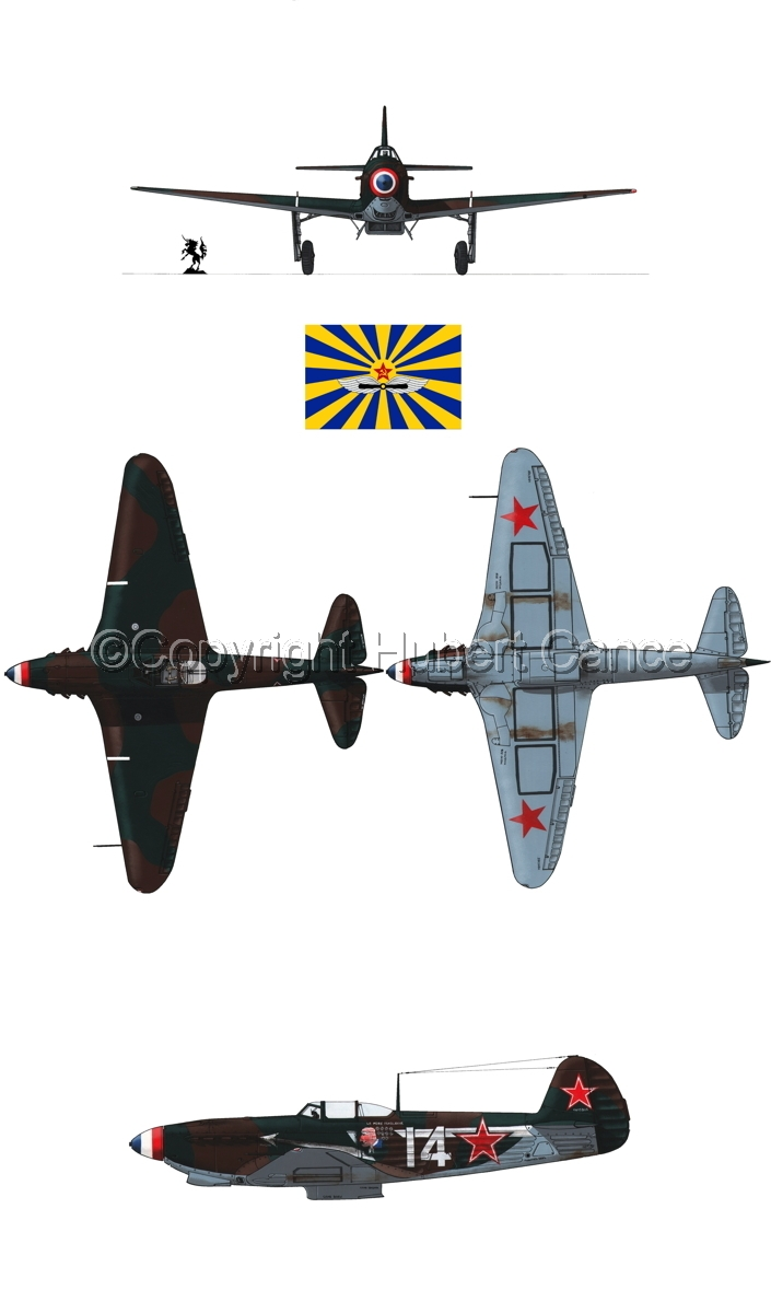 """Yakovlev Yak-9D"" 4-Views (Flag  #8.1) (large view)"