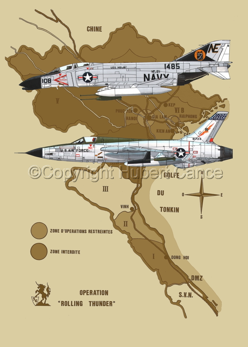 "McDD F-4B ""Phantom II"" and Republic F-105D ""Thunderchief"" (Map #2) (large view)"