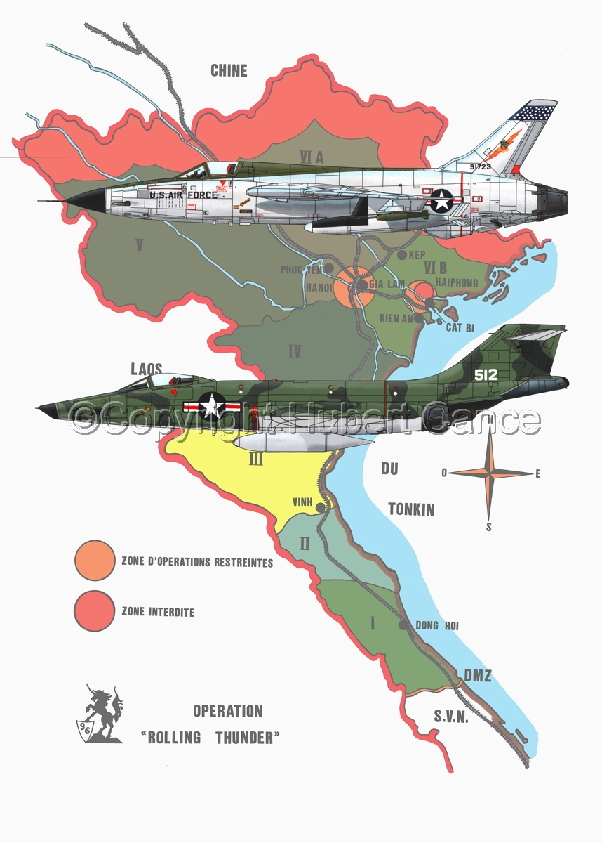 """Republic F-105D """"Thunderchief"""" and McDD RF-101C """"Voodoo""""(Map #1) (large view)"""