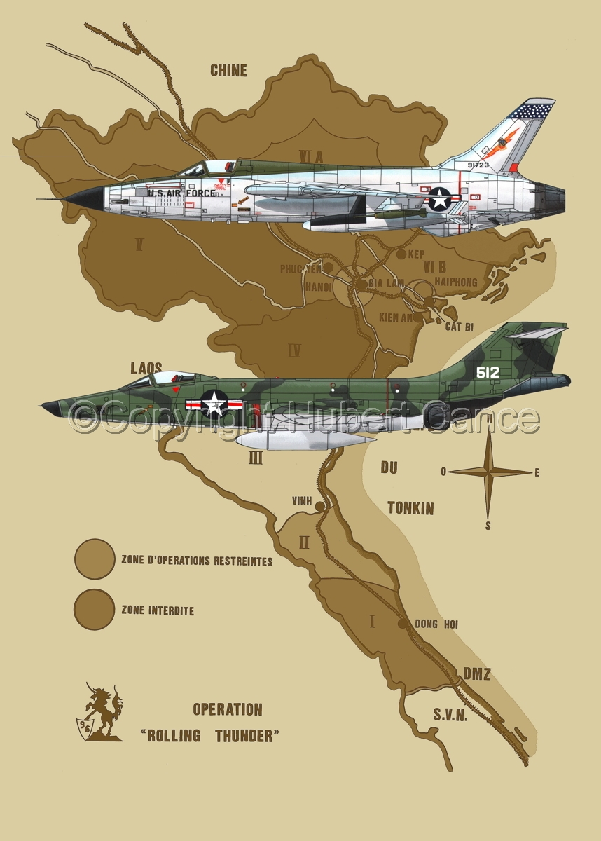 """Republic F-105D """"Thunderchief"""" and McDD RF-101C """"Voodoo""""(Map #2) (large view)"""