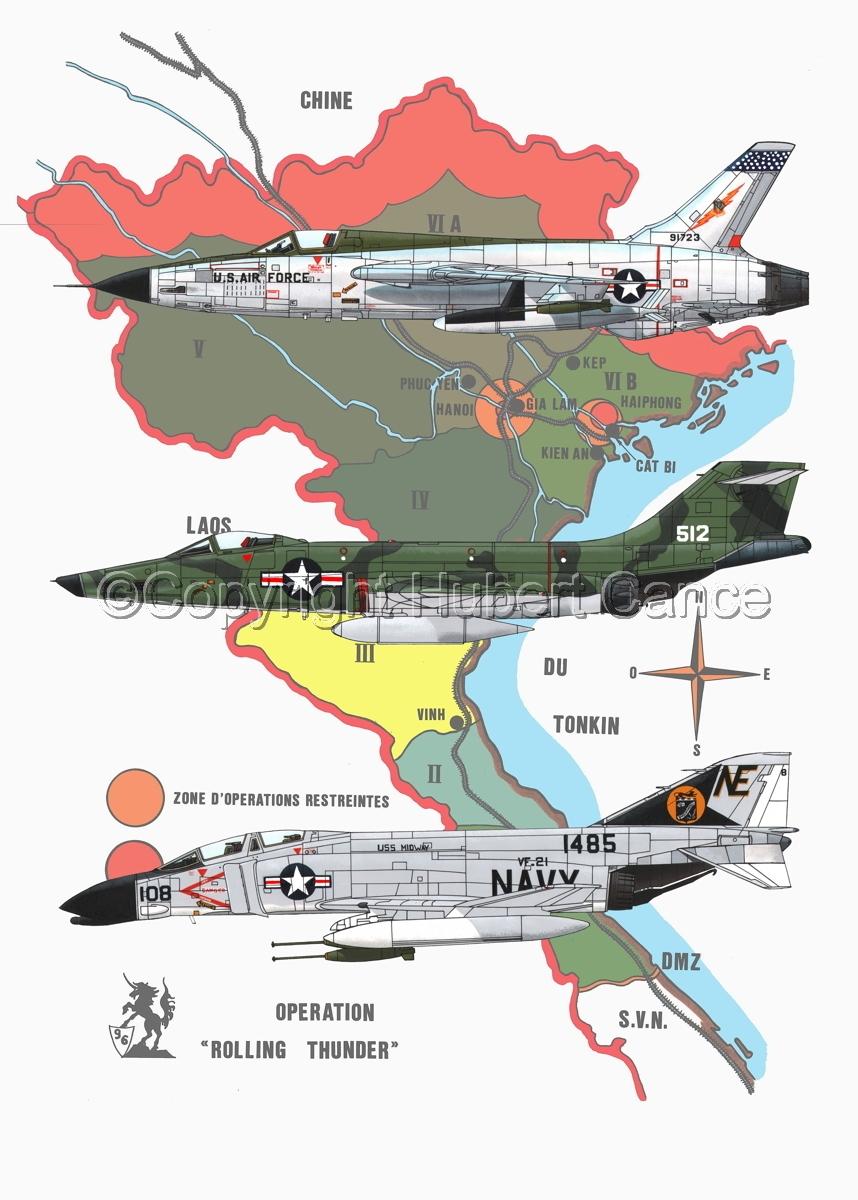 "Republic F-105D ""Thunderchief"", McDD F-4B ""Phantom II"" and RF-101C ""Voodoo"" (Map #1) (large view)"