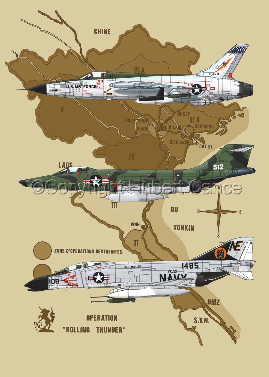 "Republic F-105D ""Thunderchief"", McDD F-4B ""Phantom II"" and RF-101C ""Voodoo"" (Map #2) (large view)"