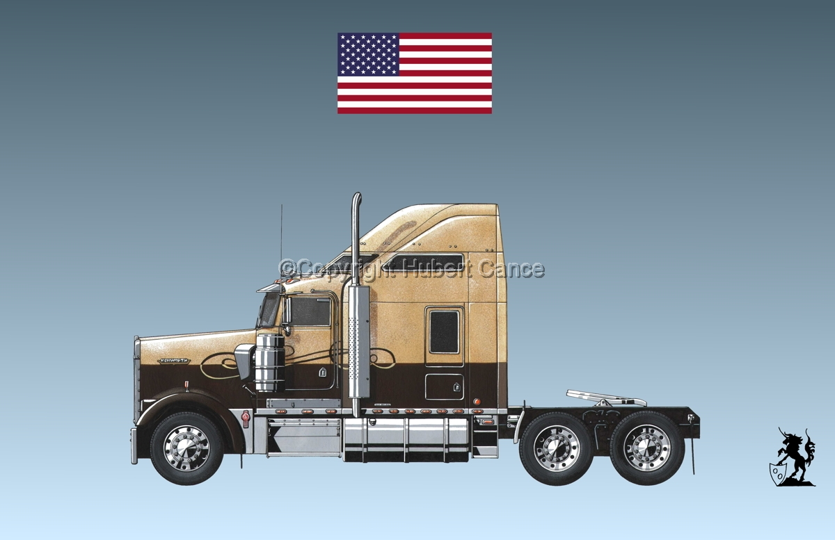 Kenworth W900L (Side View) (Flag #1.3) (large view)