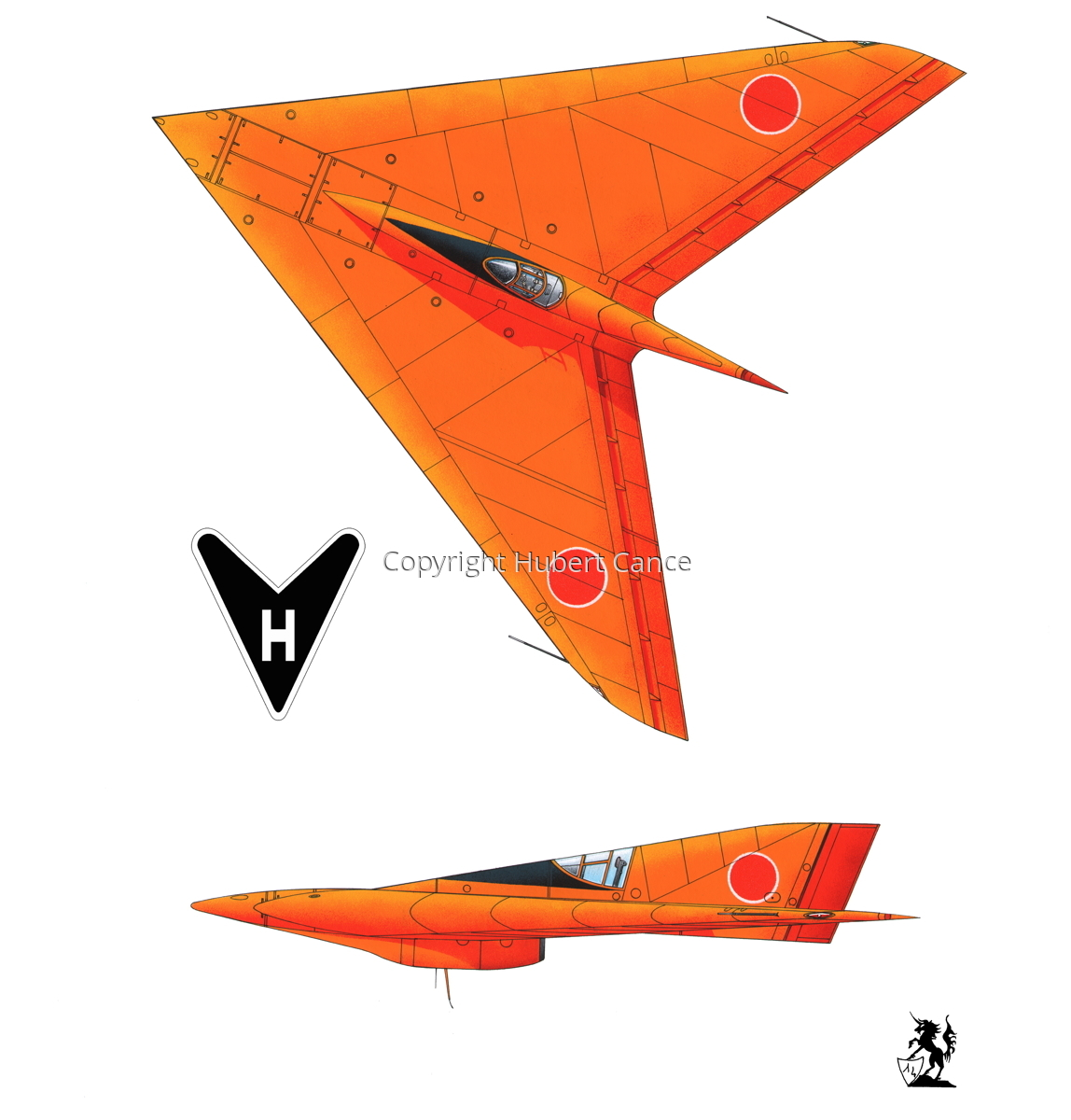 Horten Ho XIIIb Japanese Trainer 2-Views (Logo #1.1) (large view)