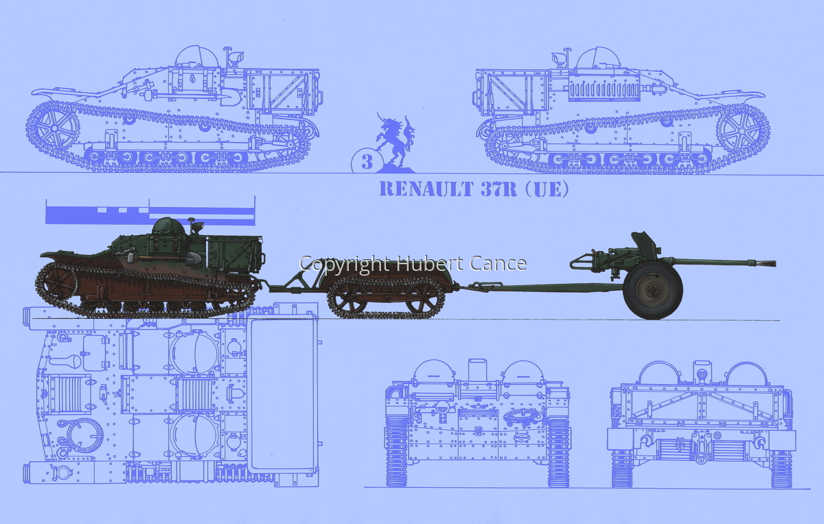 Renault UE + Remorque UK + 25 mm SA34 Hotchkiss (Blueprint #1) (large view)