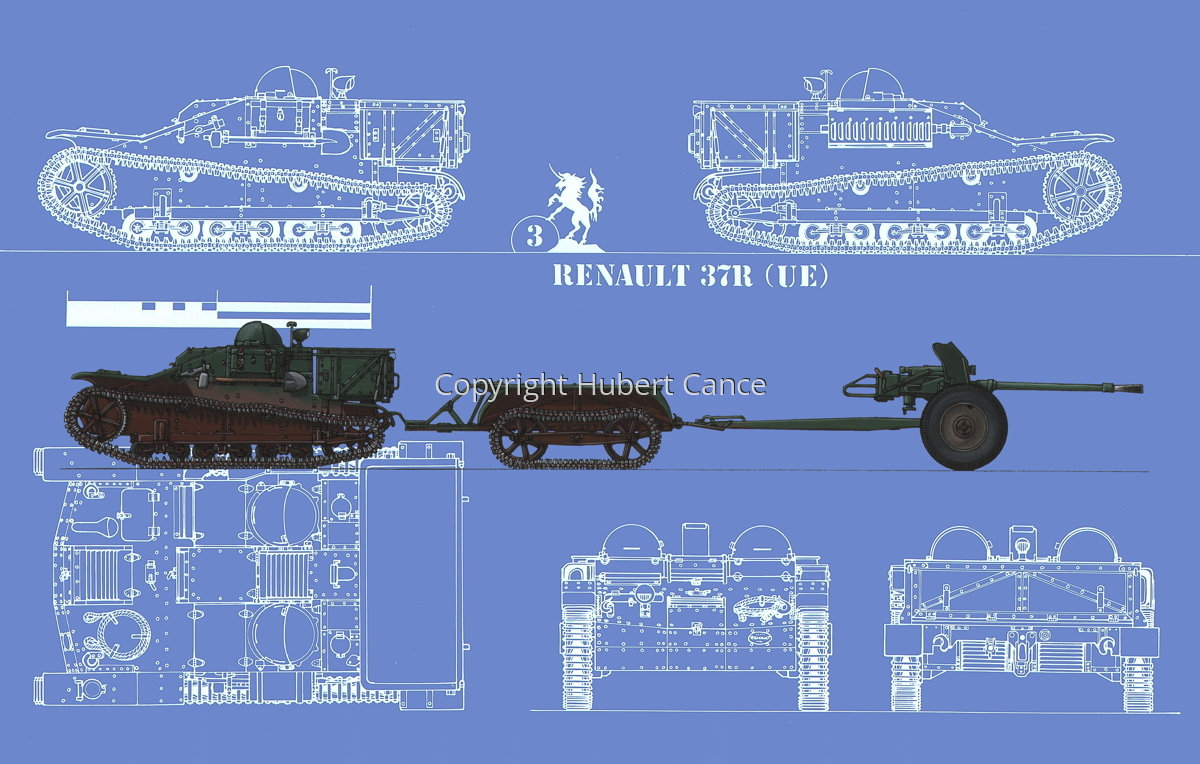 Renault UE + Remorque UK + 25 mm SA34 Hotchkiss (Blueprint #2) (large view)