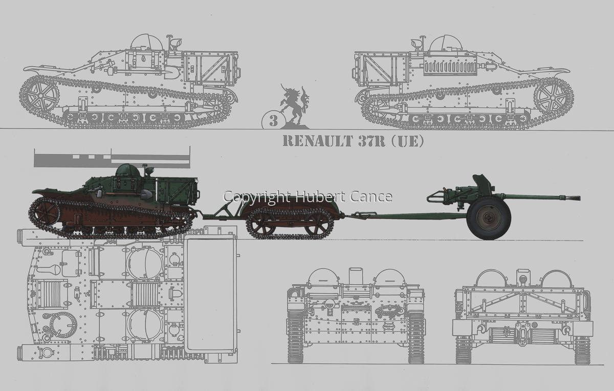 Renault UE + Remorque UK + 25 mm SA34 Hotchkiss (Blueprint #3) (large view)