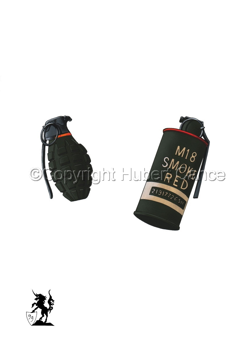 US Mk.II Defensive and US M18 Red Smoke Grenades #1 (large view)