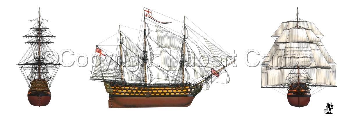 """HMS Victory"" 3-Views (large view)"