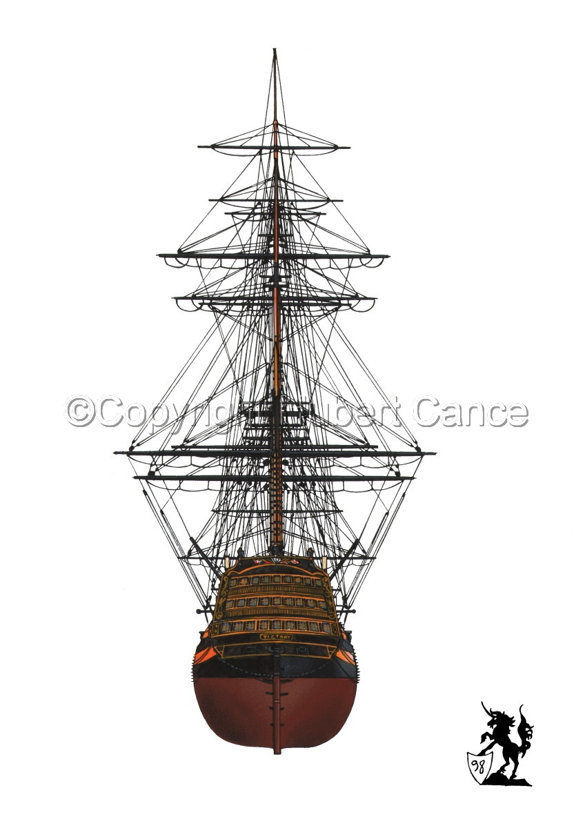 """""""HMS Victory"""" seen from the stern (large view)"""