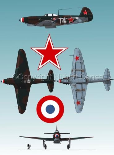 """Yakovlev Yak-9D"" 4-Views (Roundel  #3.3) (large view)"