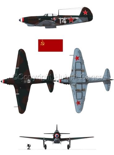 """Yakovlev Yak-9D"" 4-Views (Flag  #1.1) (large view)"