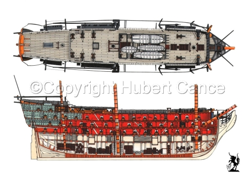 """HMS Victory"" deck and section view (large view)"