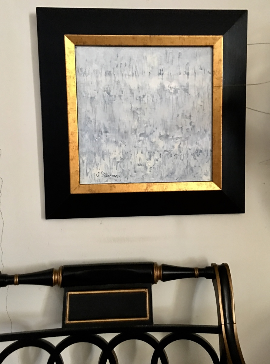 White textural abstract, framed in setting  (large view)