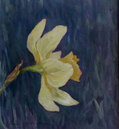 Daffodil, oil portrait, unframed  (large view)