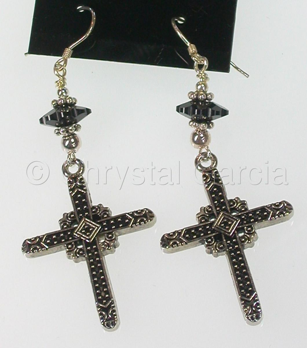 Black Swarovski Cross Earrings (large view)