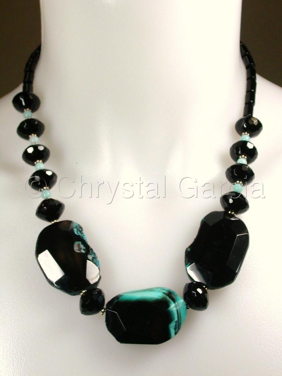 Obsidian & Aqua Necklace (large view)