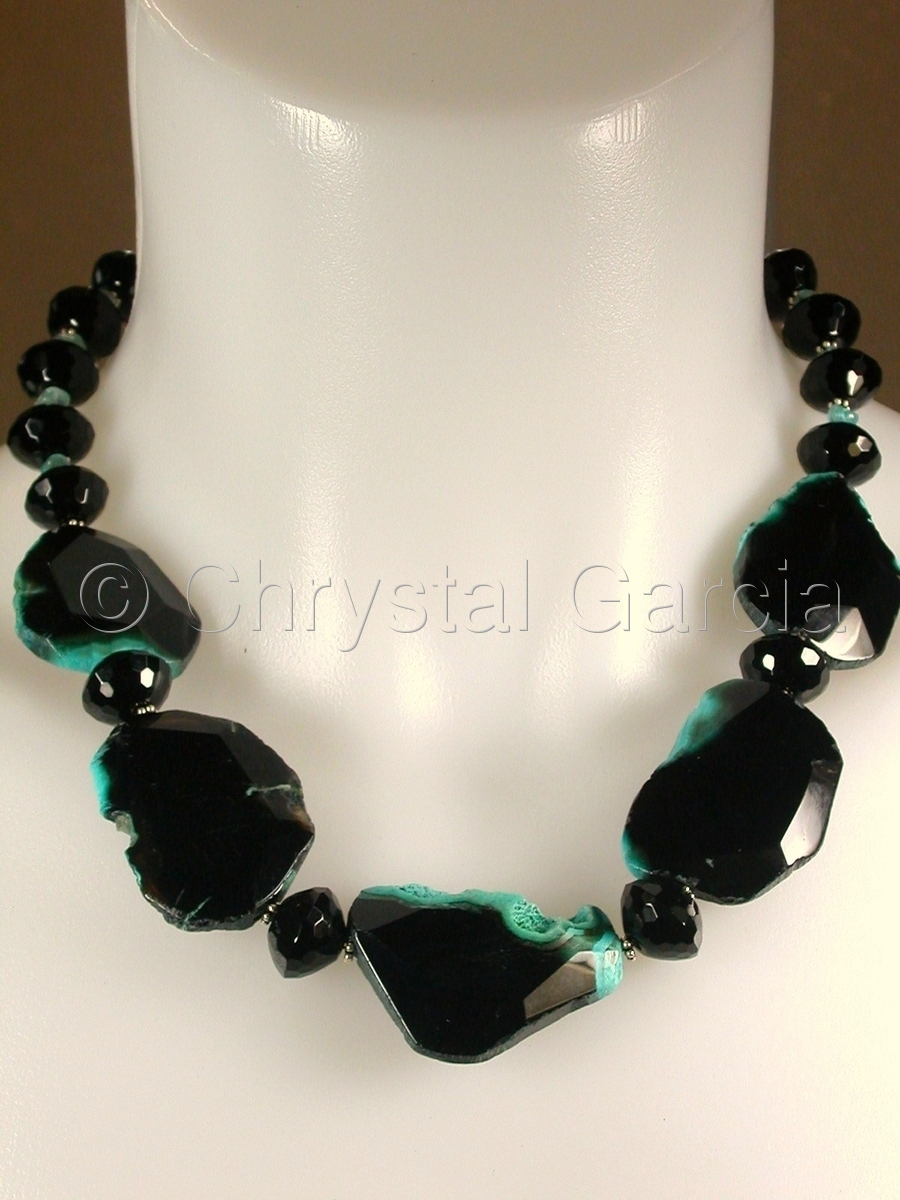 Obsidian & Aqua Necklace (large view)
