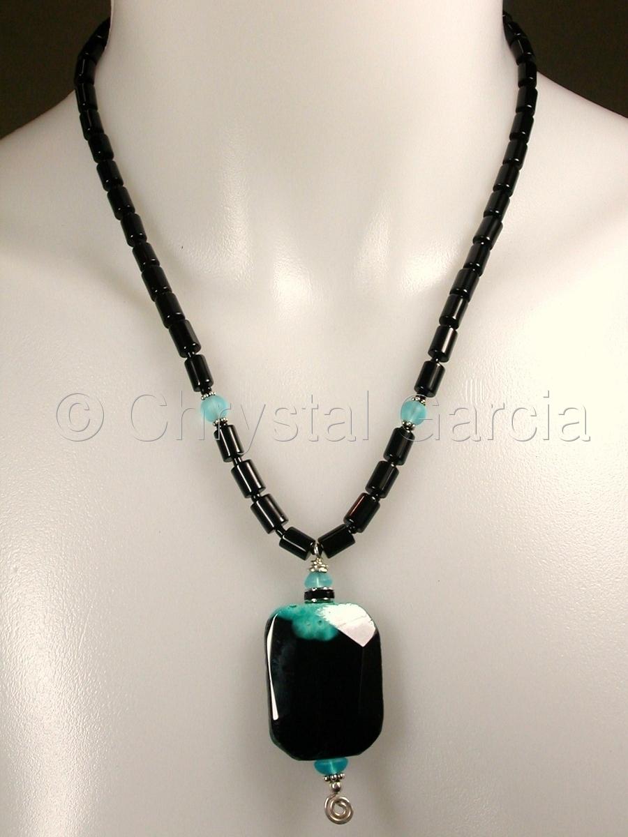 Obsidian & Aqua Necklace III (large view)