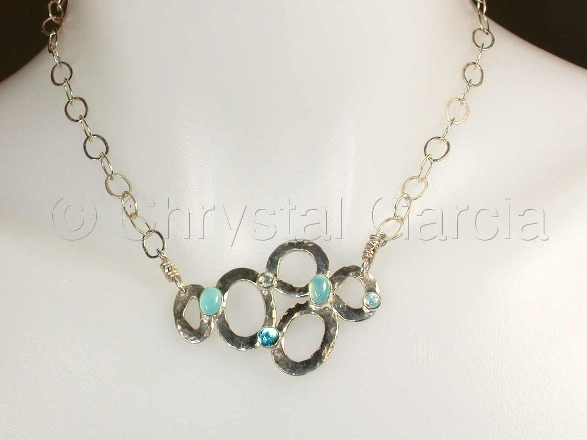 Sterling and Aquamarine Necklace (large view)