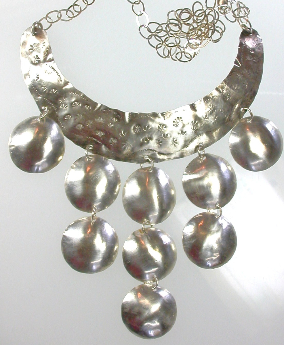 Hand Stamped Sterling Bib Necklace (large view)