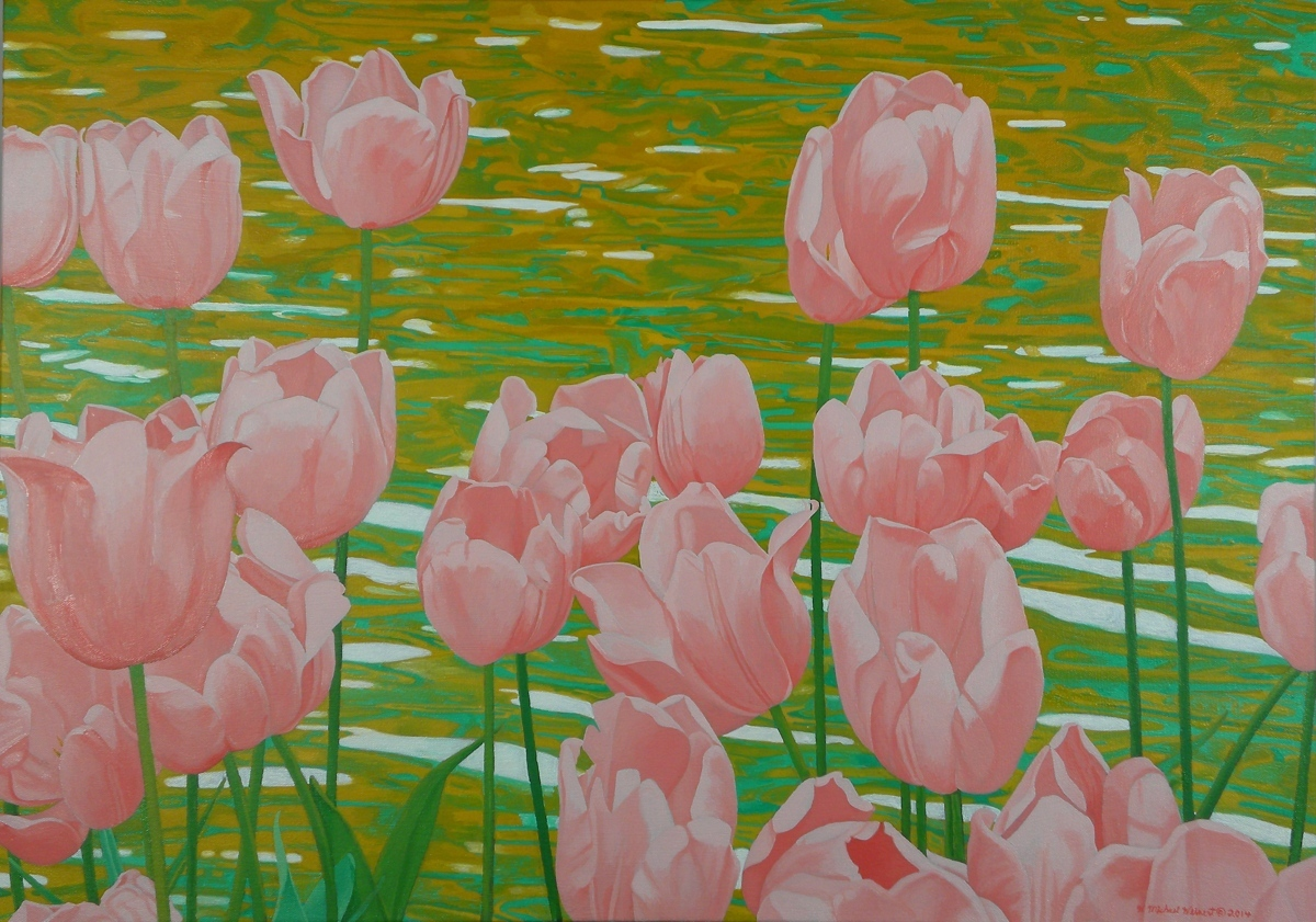 Tulips and Pond (large view)