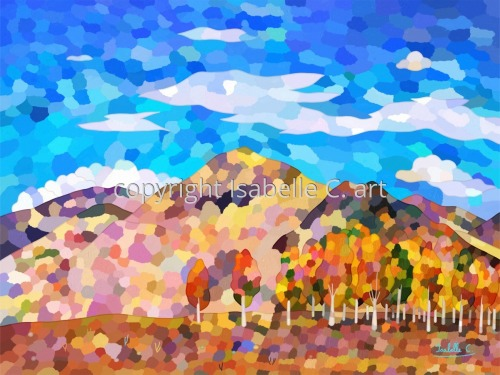 Landscape with Colorful Hills and Trees, and a Cloudy Sky