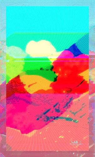 Colorful Virtual Mountain and Clouds, print edition