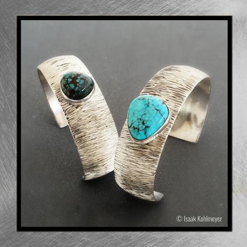 Silver Stone-Set Silver Bracelets