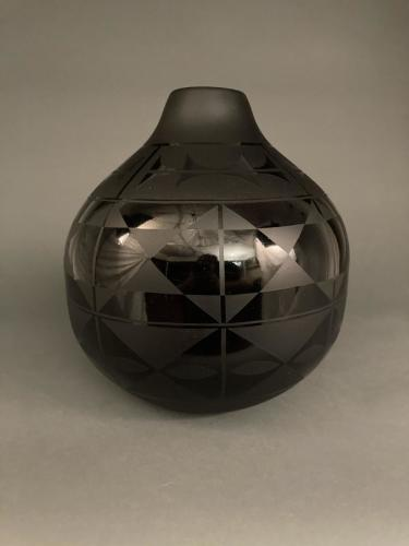 """Glass Pottery "" Black on Black Olla"