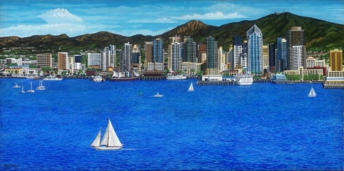 San Diego Waterfront 1 of 2,  24 x 48  Gallery Wrapped URTH Archival Quality Canvas Giclee'.  Limited Edition (150) Signed,  Numbered.