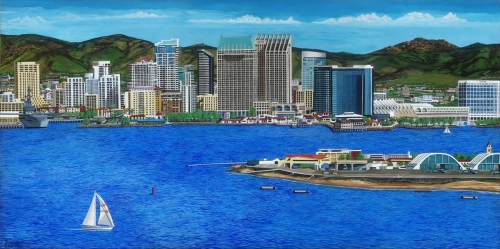 San Diego Waterfront 2 of 2,  24 x 48  Gallery Wrapped URTH Archival Quality Canvas Giclee'.  Limited Edition (150) Signed,  Numbered.