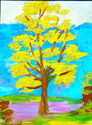 isabel, divine, brady, painting, oil, tree, landscape, yellow, autumn, spring, bold - Landscape Painting