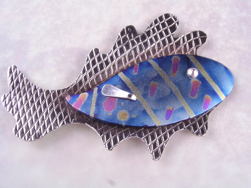 batik fish pin #14