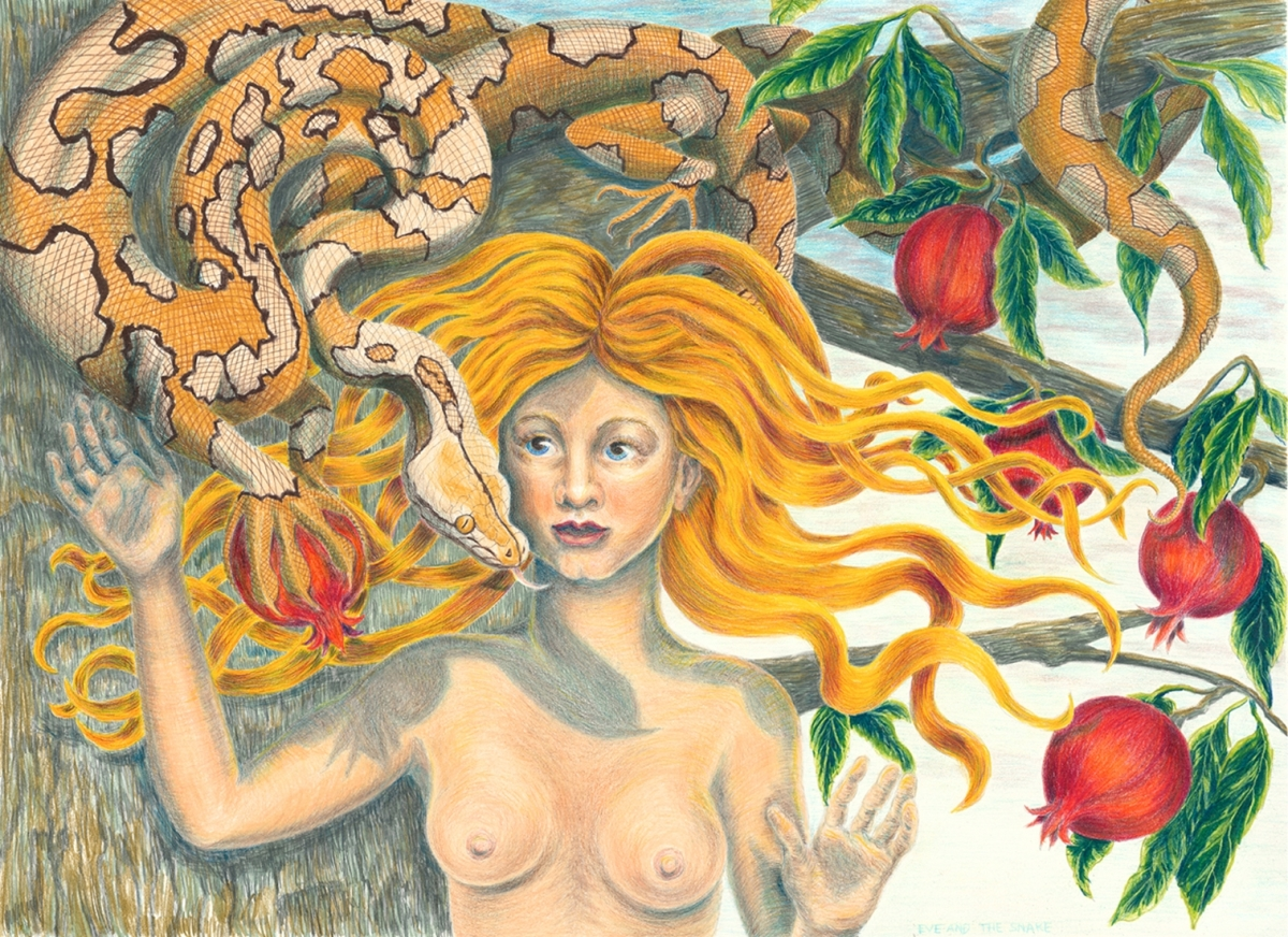 "Jackie Zagon, Detailed, Colored Pencil, image size: 22""w x 16""h, female nude, red hair, snake, pomegranate tree. matted & framed (large view)"
