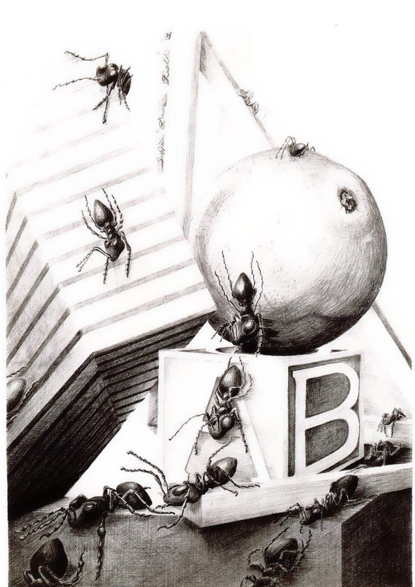 "Jackie Zagon, powerful, provocative, realistic graphite pencil still life set in a baby's environmnt containing an orange, an alphbet block, a gift package. Suddenly ants appear and take over the scene.  B&W, image size 22""h x 16""w. Framed(silver metal) & (large view)"