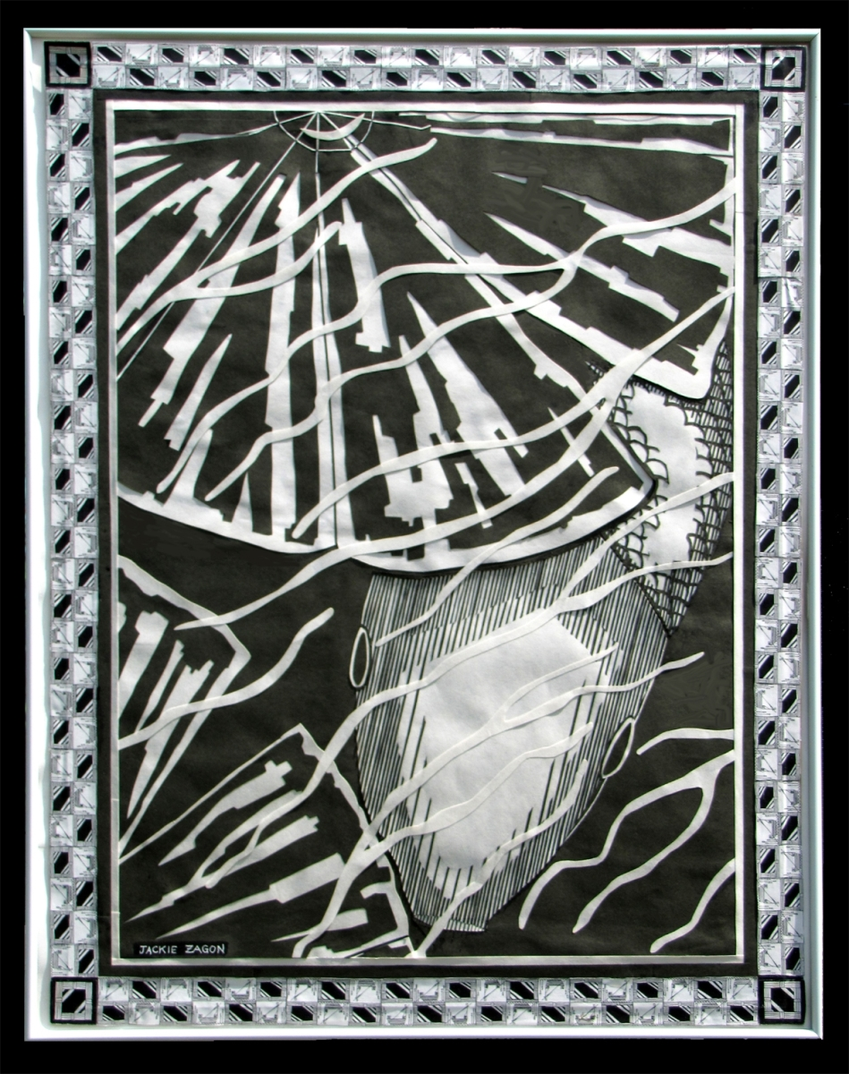 Jackie Zagon, B&W, mixed media collage, graphic, w scherenschnitt elements, intricate paper cutting.  Through ripples in the water, a fish is peeking out from under a lily pad. The main image is bordered with two repeated images, an Egyptian boater in the (large view)