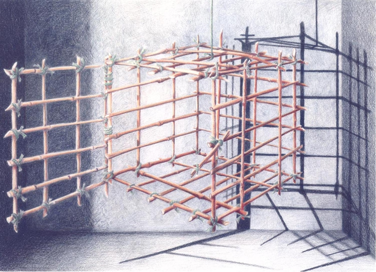 Jackie Zagon, colored pencil on bristol board, intense, emotioal, image.  An empty suspended bamboo cage casts its shadow on the walls and floor of a bare blue room. The cage is open to express escape from captivity.The cage is reminiscent of the Tiger Ca (large view)