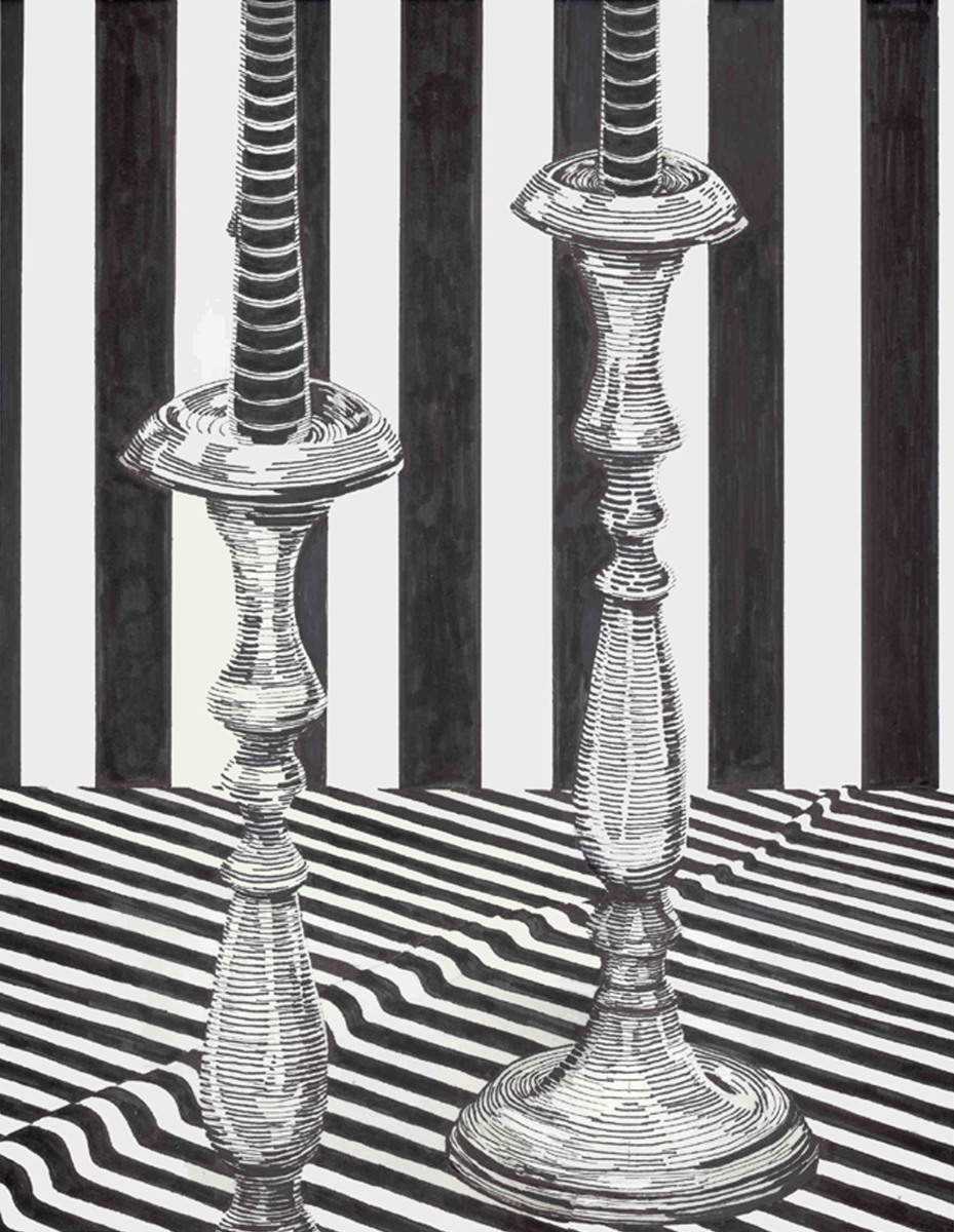 Jackie Zagon, pen & ink on bristol board,  still life, B&W, sharp image composed by using only line to dipict a pair of antique brass candlesticks set on a striped tablecloth against a striped wall. Judaica. (large view)