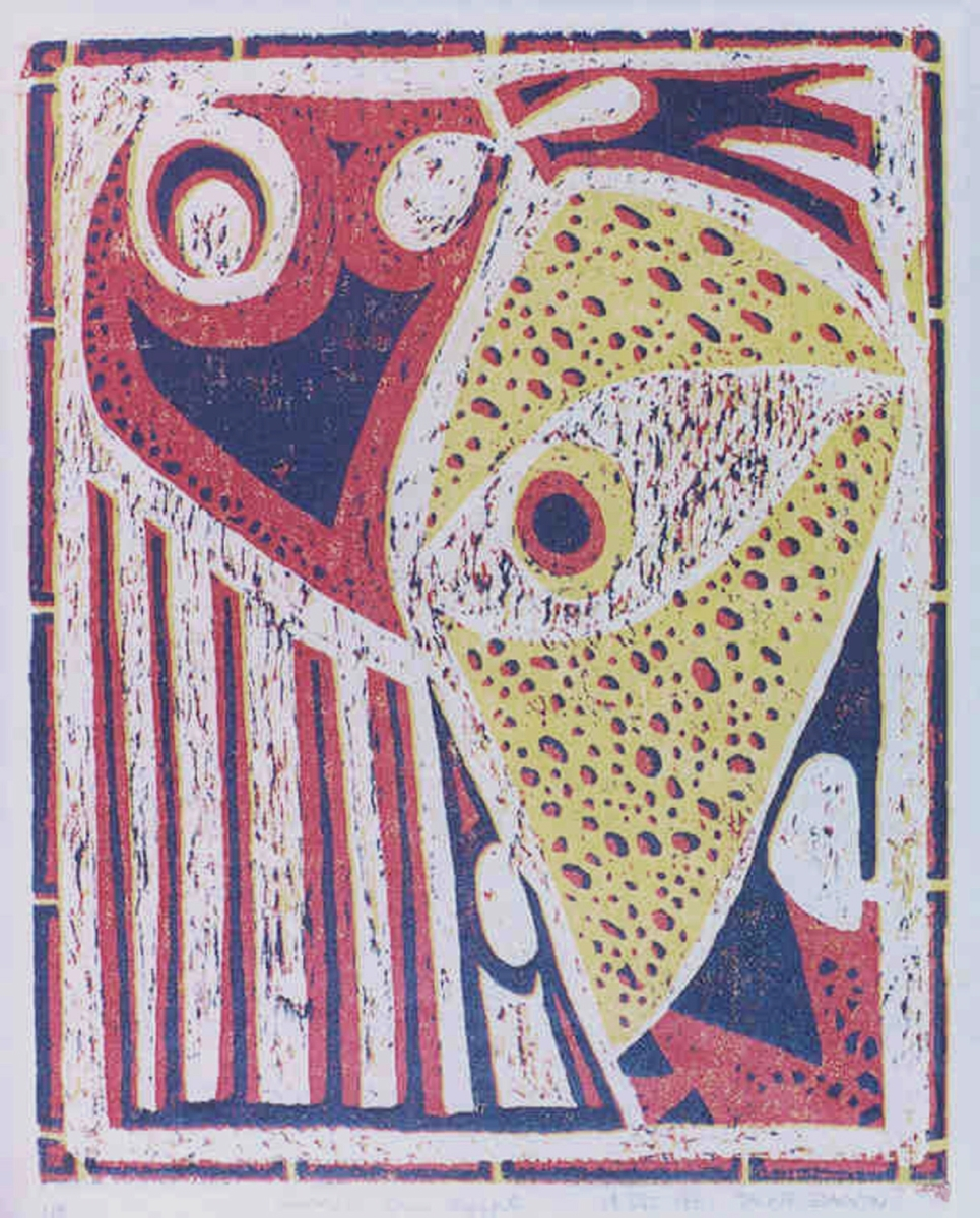 Jackie Zagon. Reduction woodcut, Judaica, abstract, mindscape, describes the Jewish people in captivity. medium gray paper with colors: black, red & yellow. Main image surrounded by bamboo-like border.  (large view)