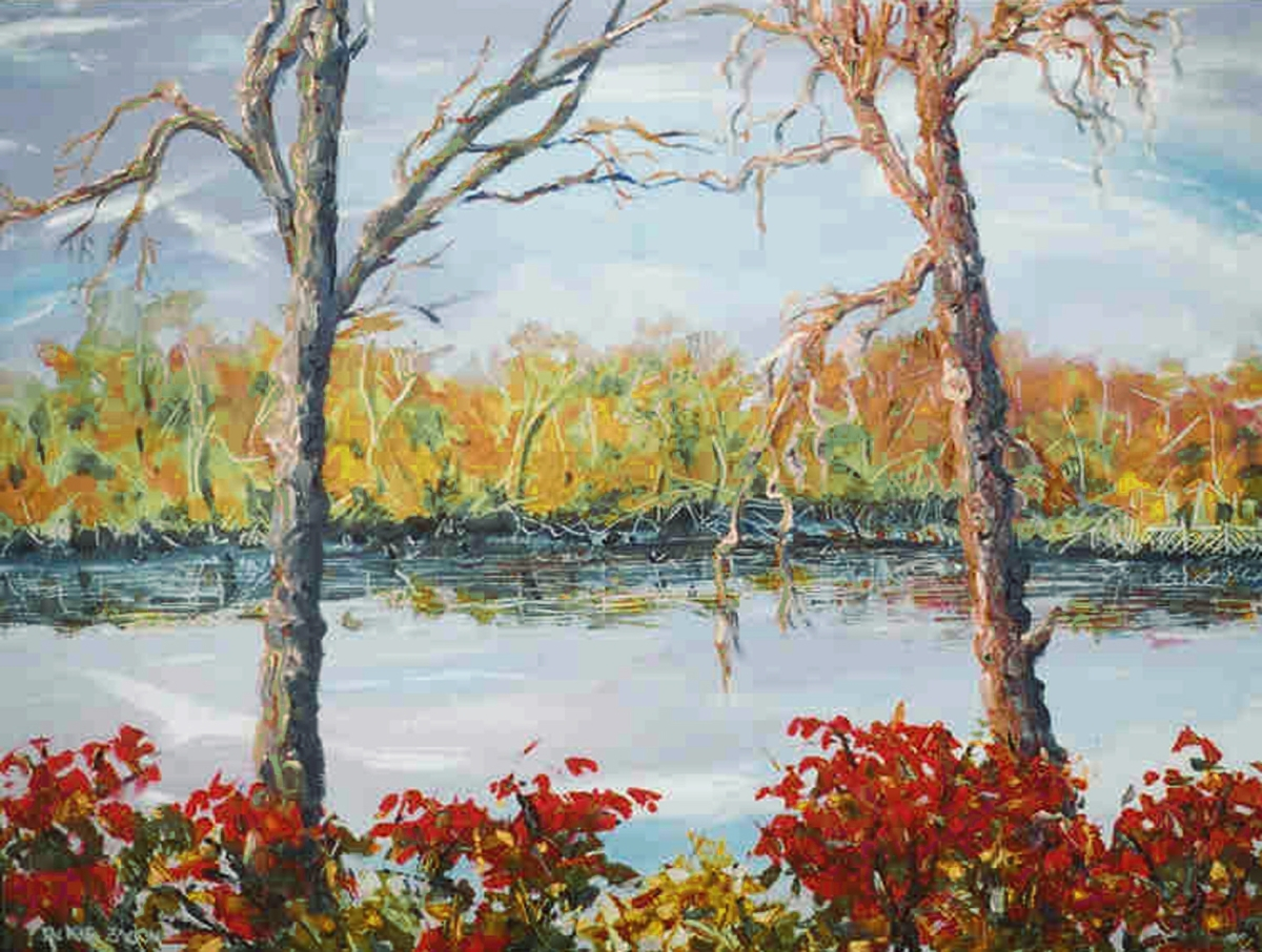 Jackie Zagon, Oil on canvas landscape.  In an autumn afternoon setting, two anthropomorphized trees are dancing at the edge of a lake, amidst burning bushes.  Impressionistic, high impasto & sgraffito effects. Colors: blue, red. yellow, neutrals. Gallery  (large view)