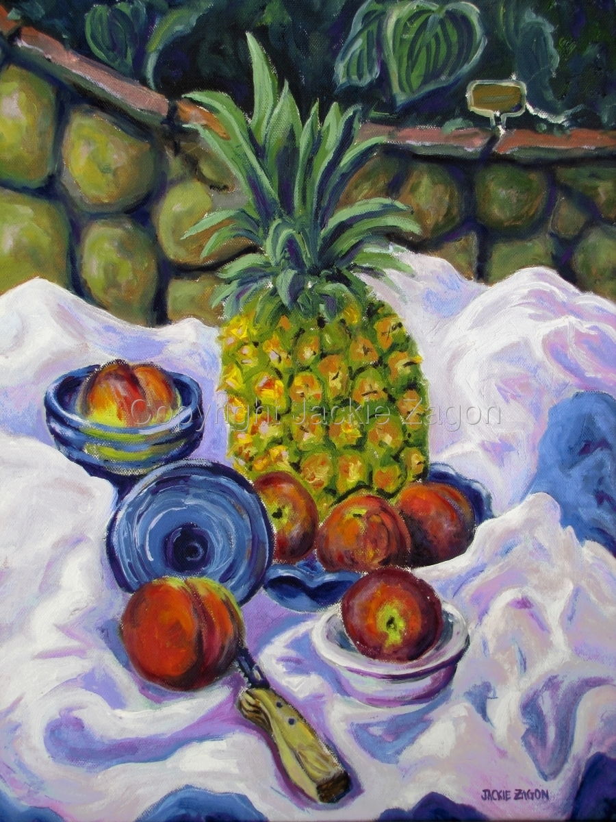 """Jackie Zagon, Oil on canvas.  A still life in a garden setting. Colors, blues, purples, white, yellows, red & green. Frame: 2.5 """" wood, antique gold wash , linen liner. (large view)"""