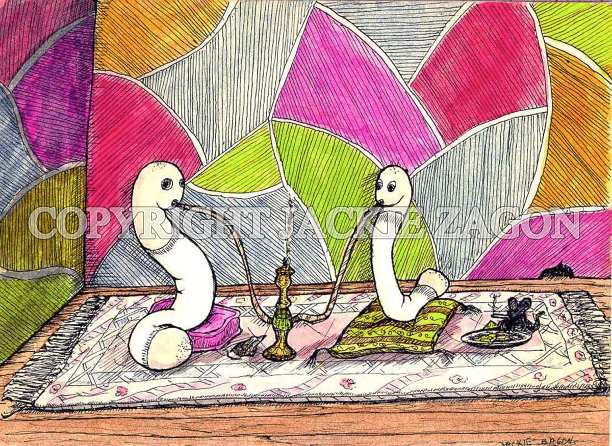Jackie Zagon, Cartoon, pen & ink. Worms getting high. (large view)