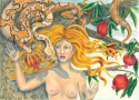 "Jackie Zagon, Detailed, Colored Pencil, image size: 22""w x 16""h, female nude, red hair, snake, pomegranate tree. matted & framed (thumbnail)"