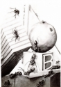 "Jackie Zagon, powerful, provocative, realistic graphite pencil still life set in a baby's environmnt containing an orange, an alphbet block, a gift package. Suddenly ants appear and take over the scene. B&W, image size 22""h x 16""w. Framed(silver metal) & (thumbnail)"