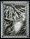 Jackie Zagon, B&W, mixed media collage, graphic, w scherenschnitt elements, intricate paper cutting. Through ripples in the water, a fish is peeking out from under a lily pad. The main image is bordered with two repeated images, an Egyptian boater in the (thumbnail)